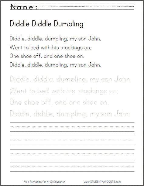 diddle diddle dumpling my son john handwriting practice