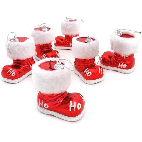 6 red ho ho glitter santa boots baubles christmas tree decoration