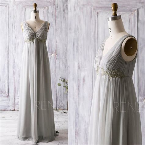 light grey bridesmaid dresses long 2016 light grey bridesmaid dress with gold lace v neck