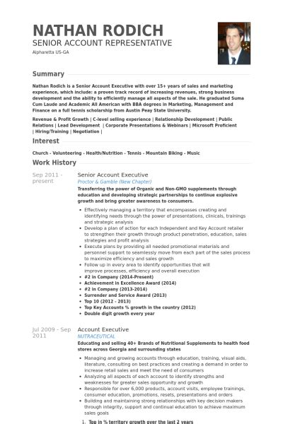customer account executive resume