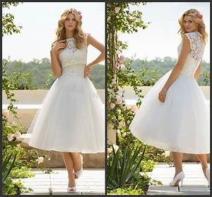 simple lace country western tea length wedding dress short With simple lace country wedding dress
