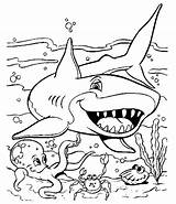 Coloring Pages Shark Printable Ocean Dinosaur Fish Colouring Sharks Sheets Bestcoloringpagesforkids sketch template