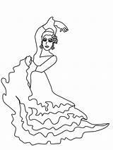 Dancer Spanish Flamenco Coloring Pages Spain Bullfighting Printable Template Kin Ballerina Colouring Popular sketch template