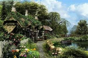 Glamorous, English, Cottage, House, Wallpaper, Boat, River ...