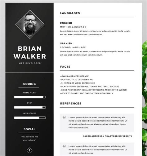 fashion resume cv templates