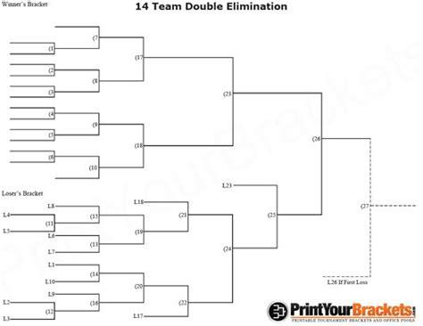 team double elimination printable tournament bracket