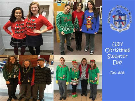 ugly christmas sweater day assumption college school