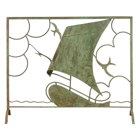 vintage nautical themed copper fire screen  aged