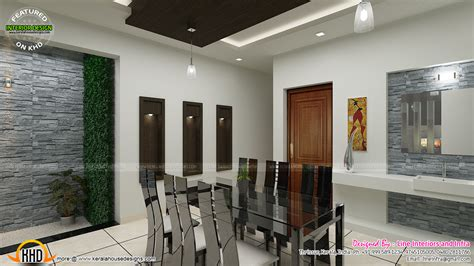 contemporary dining living  courtyard interior design kerala home design  floor plans