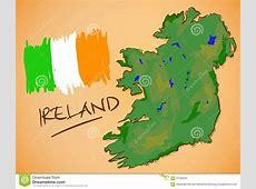 IrlandKartenund StaatsflaggeVektor Vektor Abbildung