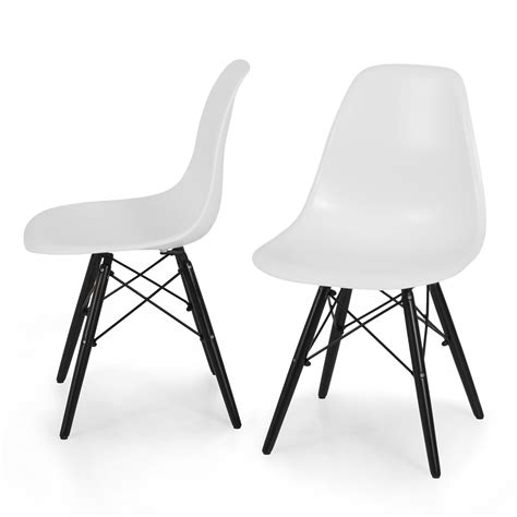 2x dsw molded abs plastic side chair eiffel dowel wood leg