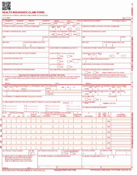1500 Form Free by Cms 1500 Claim Form Pdf Free Mbm