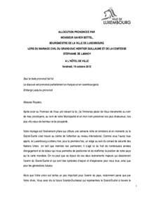 0037 19 10 2012 discours mariage princier xavier bettel 19102012 - Mariage Princier