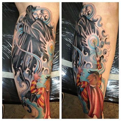 cartoon style colored fantasy wizard fight tattoo  leg