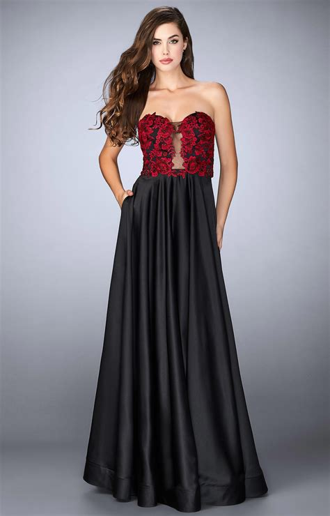 La Femme 23881  Aline Gown With Lace Bodice Prom Dress