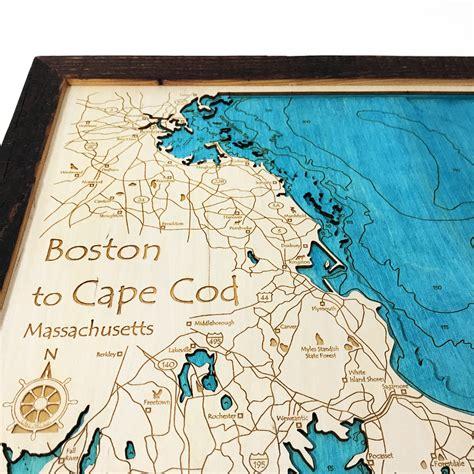 "Boston And Cape Cod, Ma 3d Nautical Wood Chart, 14"" X 18"