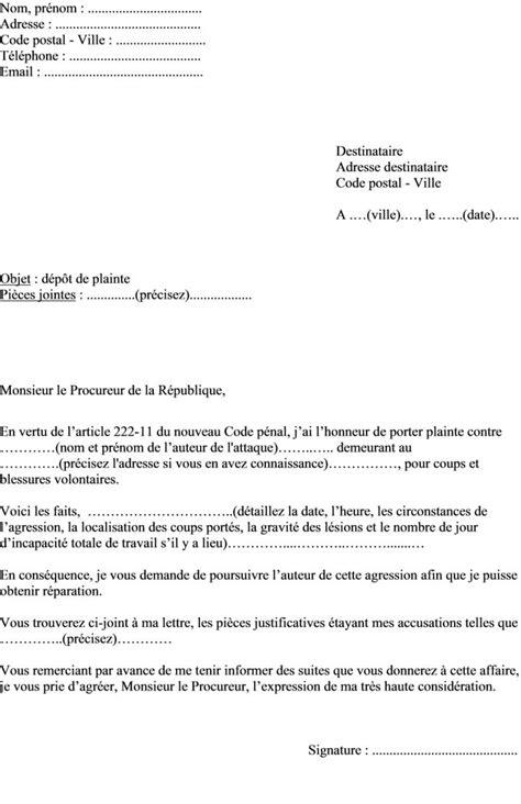 mod 232 le de lettre porter plainte pour agression coups et blessures au procureur de la r 233 publique