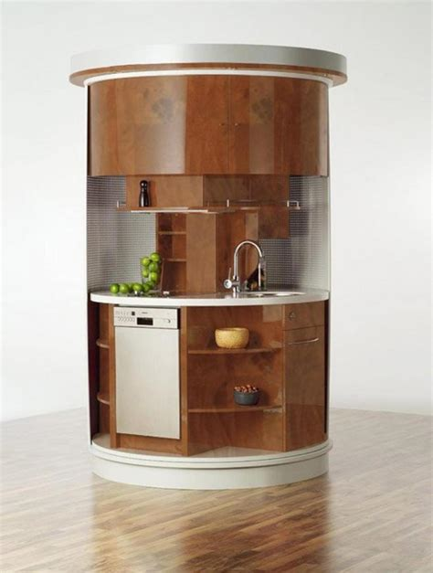 Kitchens Remodeling Ideas - curved corner small kitchen design with white porcelain countertop and open racks for space