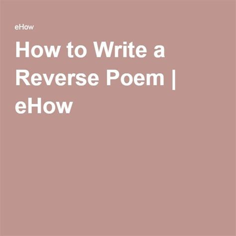 write  reverse poem poem writing ideas