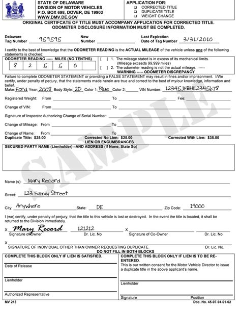 ct id application form delaware division of motor vehicles vehicle services
