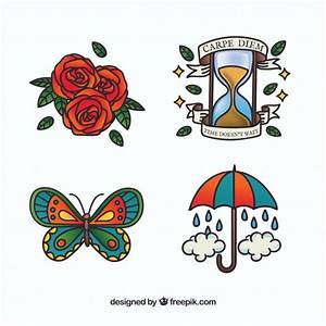 Colorful hand drawn old school tattoo collection Vector Free Download