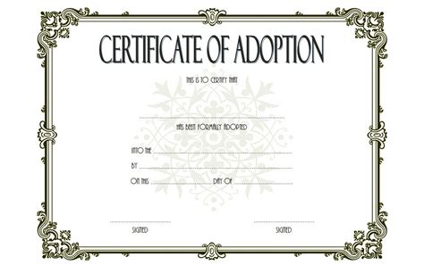 Blank Adoption Certificate Template by Adoption Certificate Templates The Best Template Collection