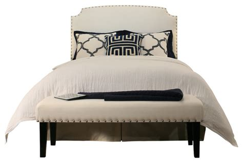 White Headboard Bench by Grosvenor Upholstered Headboard And Bench White
