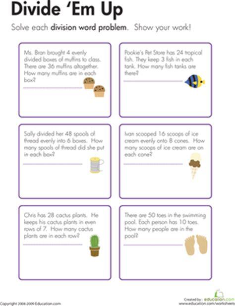 Division Word Problems Divide 'em Up!  Worksheet Educationcom