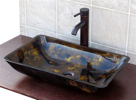 Bathroom Rectangular Artistic Glass Vessel Sink + Oil