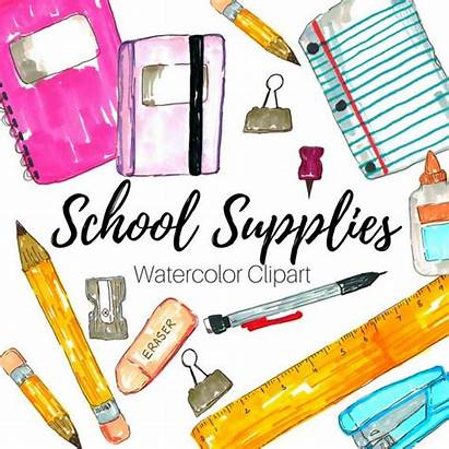 Supplies Clip Drawn Hand Clipart Commercial Collage