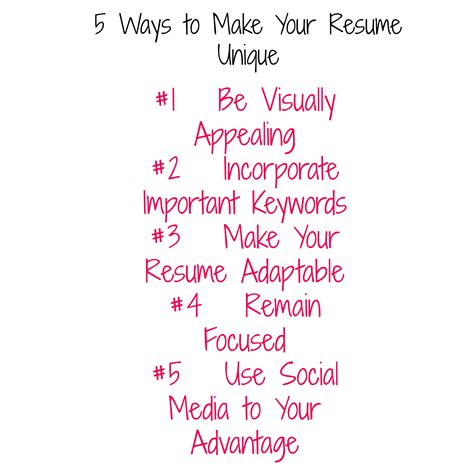 5 ways to make your resume unique by chicmompreneur she