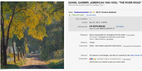 expensive art painting sold  ebay december