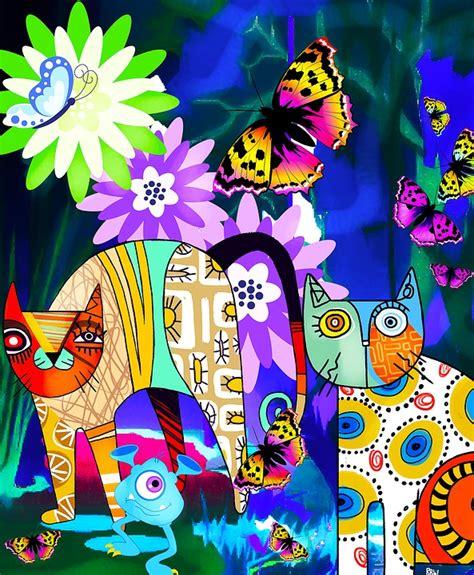 cats abstract art butterflies  photo  pixabay