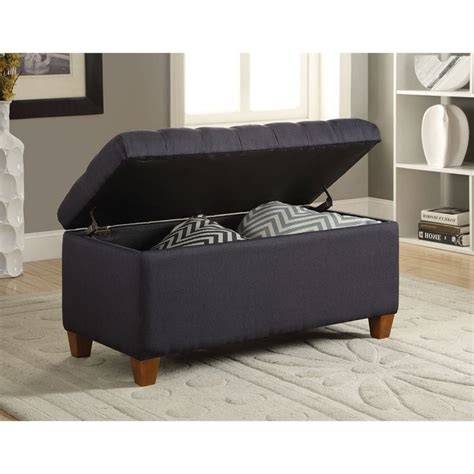 Coaster Tufted Storage Bench In Dark Navy 500066