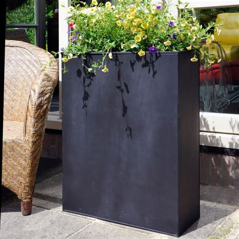 bac 224 fleurs acier l60 h76 cm noir plantes et jardins