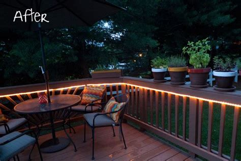 mood lighting rope light on deck sittin outside makes