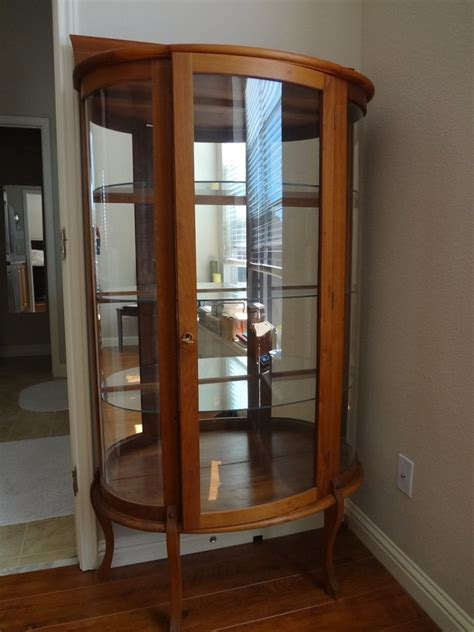 curved glass curio cabinet   antique furniture