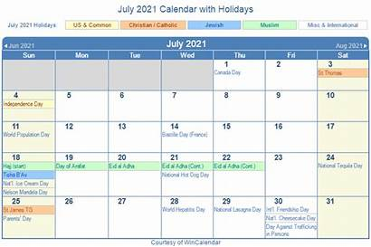 Calendar 2021 July Holidays Printable Holiday Wincalendar