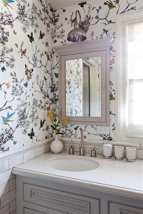 white  gray master bathroom  schumacher haiku sisal
