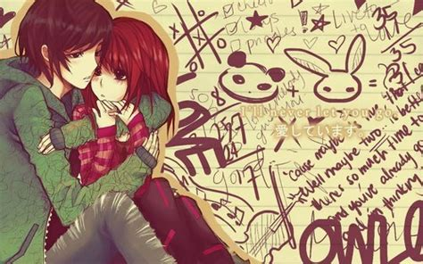 anime couple hug love image   favimcom