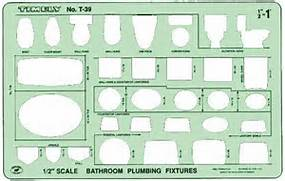 Timely Bathroom Plumbing Template  Scale 1 2 inch  Architectural Furniture Templates