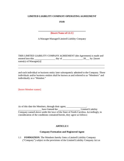 2018 llc operating agreement template fillable printable pdf forms handypdf