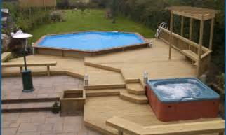 multi level above ground pool deck photos landscaping