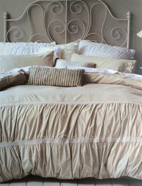 shabby chic doona covers shabby ruffle ruched chic queen bed doona duvet linen quilt cover set chic new ebay