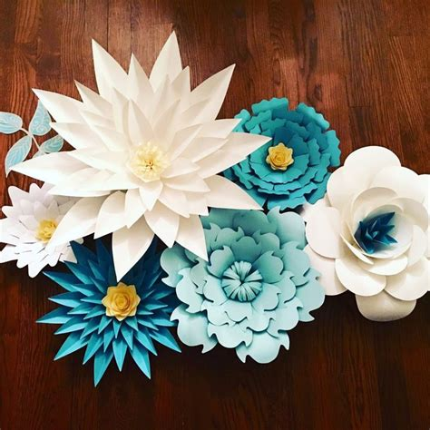 large paper flower paper flowers in different shades of blue boy