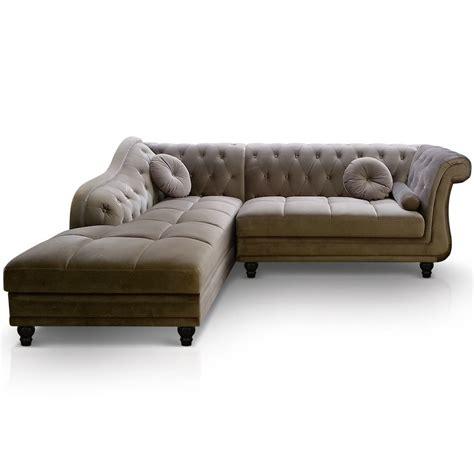 canapé d angle style anglais canapé d 39 angle gauche empire velours taupe style