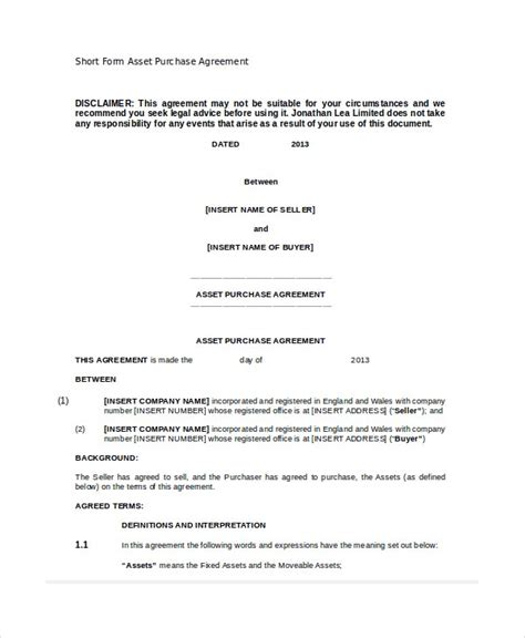 asset purchase agreement   word  documents