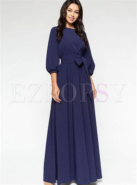 solid color maxi dresses dresses maxi dresses o neck lantern sleeve solid color