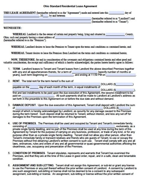 Ohio Residential Lease Agreement Form