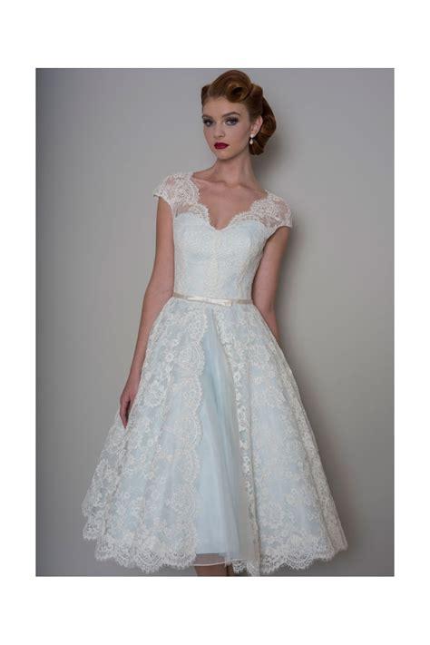 lb142 bella tea length lace blue wedding dress